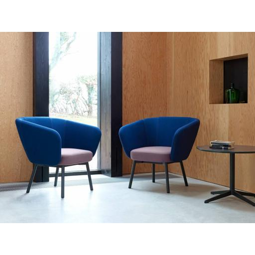Billo armchair with black frame and legs