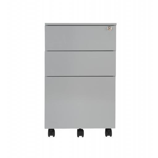 3 Drawer Under Desk Steel Pedestal - Silver