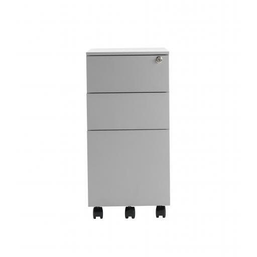 Steel Pedestal Slimline 3 Drawer - White