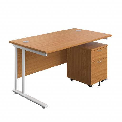 1400X800 Twin Upright Rectangular Desk Beech-White + Mobile 2 Drawer Ped
