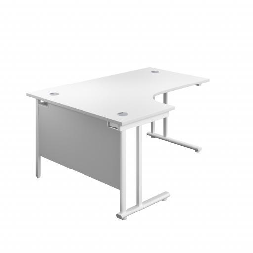 1600X1200 Twin Upright Left Hand Radial Desk White-White