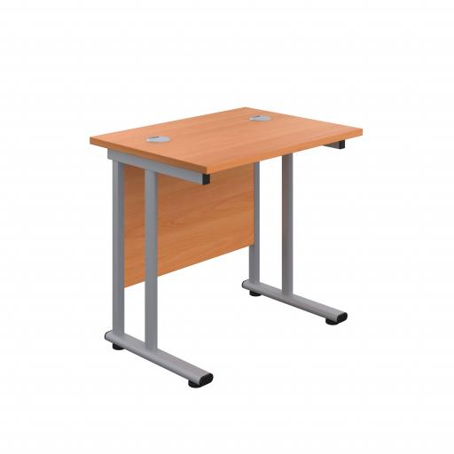 800X600 Twin Upright Rectangular Desk Beech-Silver