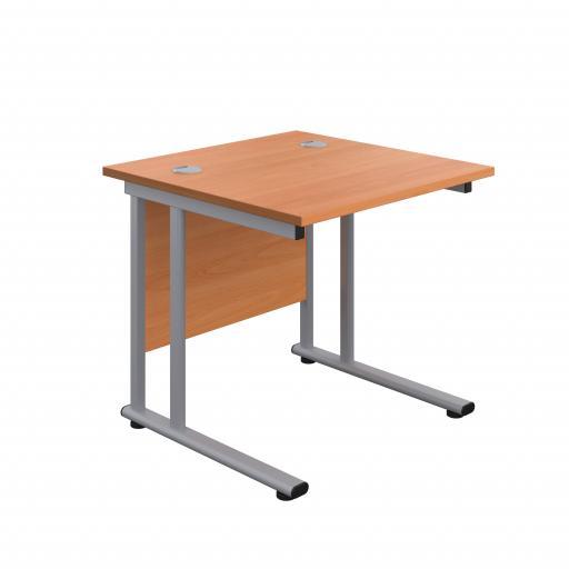 800X800 Twin Upright Rectangular Desk Beech-Silver