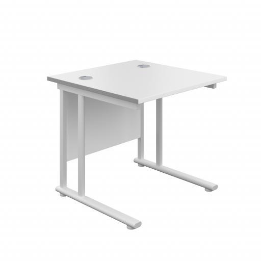 800X800 Twin Upright Rectangular Desk White-White