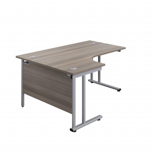 1600X1200 Twin Upright Left Hand Radial Desk Grey Oak-Silver + Desk High Ped