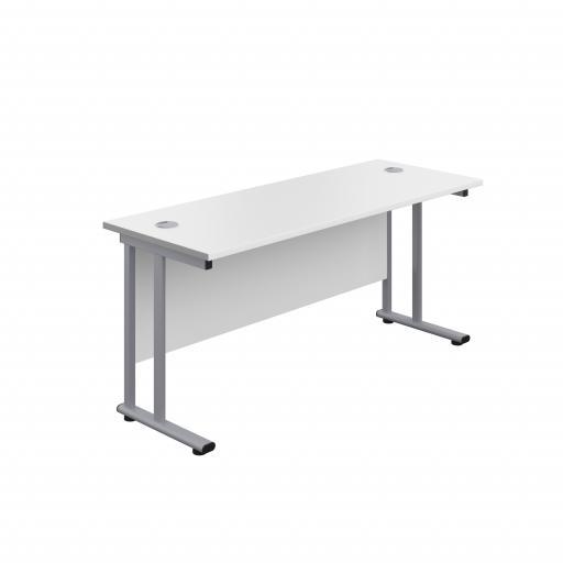 1600X600 Twin Upright Rectangular Desk White-Silver