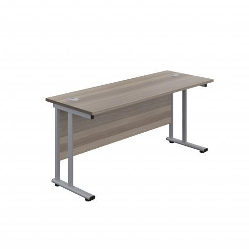 1600X600 Twin Upright Rectangular Desk Grey Oak-Silver
