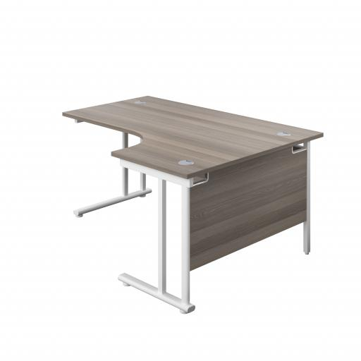 1600X1200 Twin Upright Right Hand Radial Desk Grey Oak-White