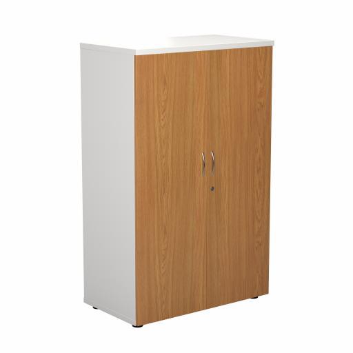 1600 Wooden Cupboard (450mm Deep) White Carcass Nova Oak Doors