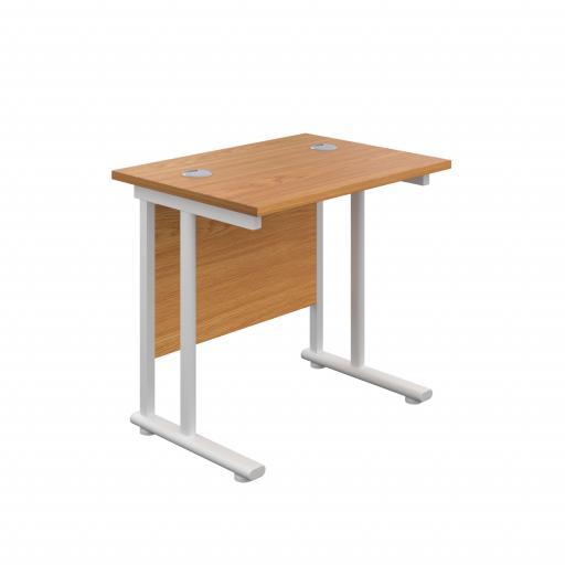 800X600 Twin Upright Rectangular Desk Nova Oak-White