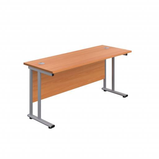 1400X600 Twin Upright Rectangular Desk Beech-Silver