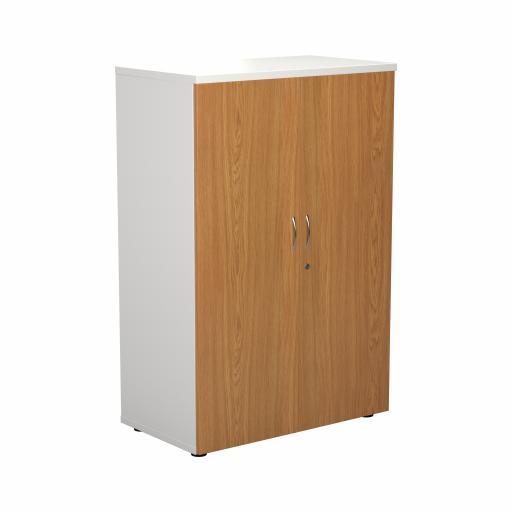 1200 Wooden Cupboard (450mm Deep) White Carcass Nova Oak Doors