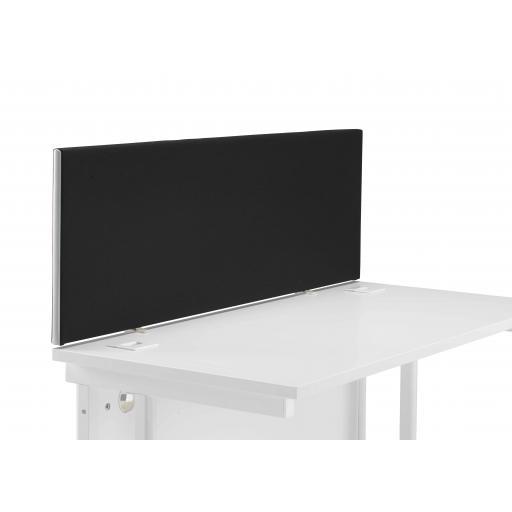 1400 Straight Upholstered Desktop Screen Black