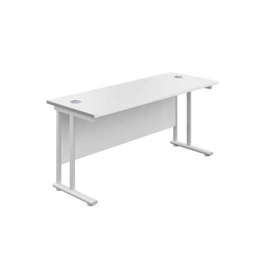 1400X800 Twin Upright Rectangular Desk White-White