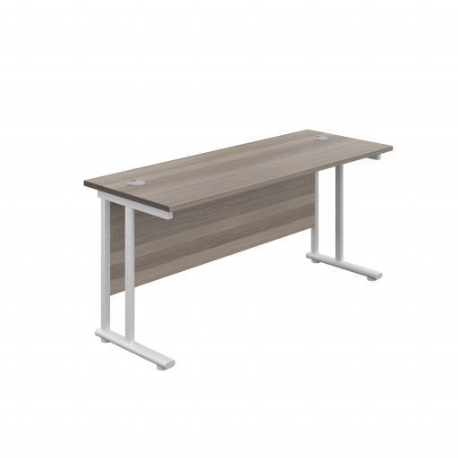 1600X600 Twin Upright Rectangular Desk Grey Oak-White