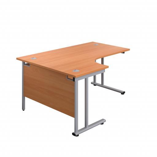 1600X1200 Twin Upright Left Hand Radial Desk Beech-Silver