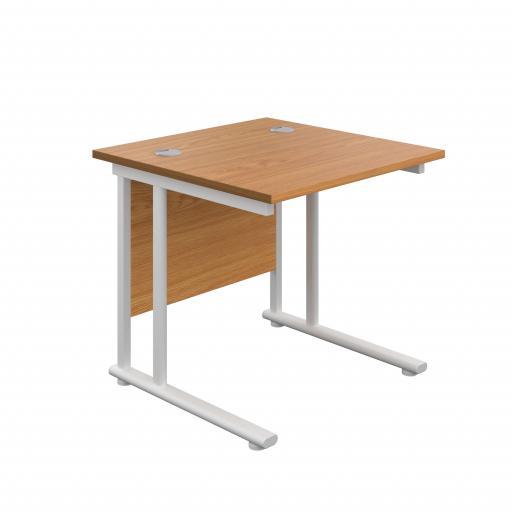 800X800 Twin Upright Rectangular Desk Nova Oak-White