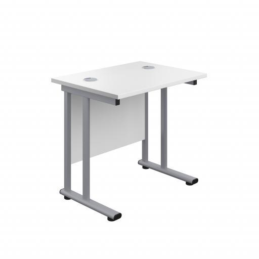 800X600 Twin Upright Rectangular Desk White-Silver