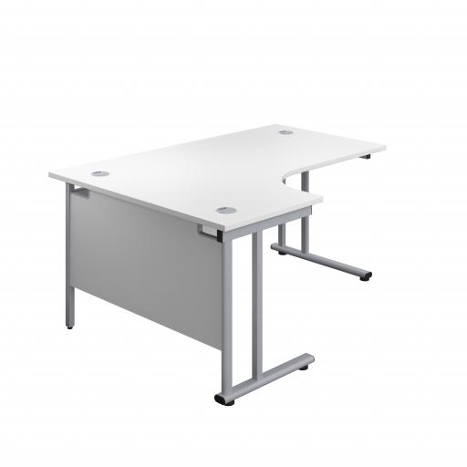 1600X1200 Twin Upright Left Hand Radial Desk White-Silver