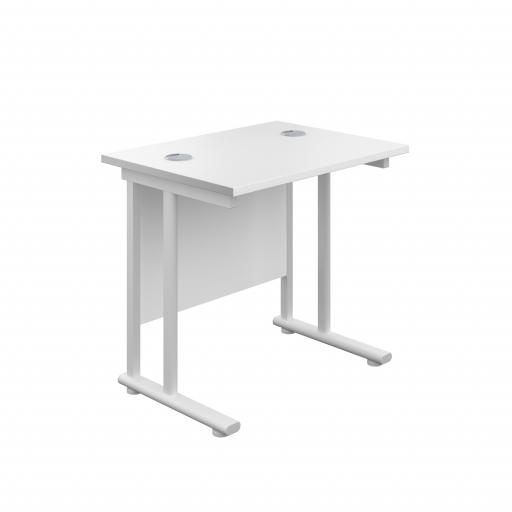 800X600 Twin Upright Rectangular Desk White-White