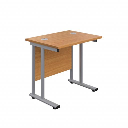 800X600 Twin Upright Rectangular Desk Nova Oak-Silver