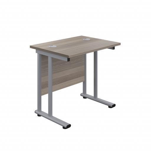 800X600 Twin Upright Rectangular Desk Grey Oak-Silver